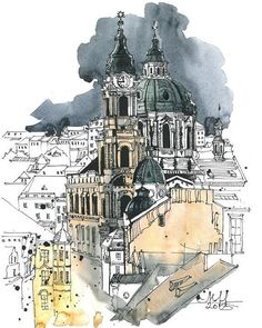 40 New Ideas Drawing Sketches Architecture Pens Watercolor Architecture, Architecture Sketchbook, Art Sketchbook, Art And Architecture, Sketch Painting, Watercolor Drawing, Ink Pen Drawings, Drawing Sketches, Drawing Ideas