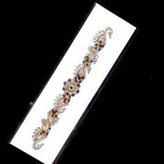 Arm-Cuff-20-cm-Black-Clear-Gems-on-Gold-Adhesive-Bracelet-Anklet-001