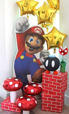 Isn't it fun to have a Super Mario party? I hope this list of Super Mario party ideas can inspire you to create a Super fun party. Super Mario Party, Super Mario Bros, Super Mario Birthday, Mario Birthday Party, 6th Birthday Parties, 7th Birthday, Super Mario Brothers, 5th Birthday Ideas For Boys, Super Mario Costumes