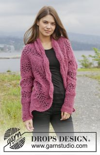 "Knitted DROPS jacket with wave pattern in ""Brushed Alpaca Silk"". Size: XS - XXL. ~ DROPS Design"