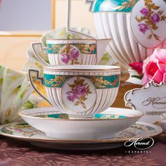 Belvedere tea cup with roses and gold. This item is limited, can be purchased with the whole set. Similar style items were usual in the period of Napoleon III. This is why it is called Empire.