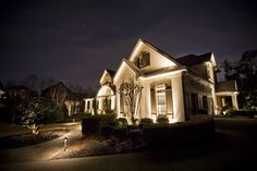 Architectural lighting display featuring custom second level lighting by Outdoor Advantage