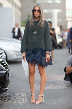 Street Style: Paris Fashion Week Spring 2014 sweater and feather skirt