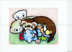 Art by Shelly Mundel. Ferret People Collection   TOY HOG 6X8 Satin Canvas