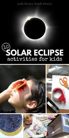 10 Fun solar eclipse activities for kids like DIY viewers, crafts, learning activities and more. Plus learn what a solar eclipse is. Solar Eclipse Magic, Solar Eclipse Model, Solar Eclipse Activity, Steam Activities, Science Activities, Science Projects, Activities For Kids, Science Experiments, Kid Science