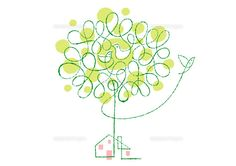 木と小鳥の親子と家 (c)Formmart