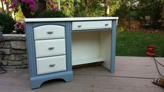 "Sleek Chic hand painted desk w/ grey & Old White Annie Sloan chalk paint then waxed for durability Great for your computer!  * Also could come with a hutch with shelves that goes on top of desk at additional price.  Dimensions approximately: 44"" wide 17.5"" deep 30"" high  See additional pics on bookoo.com Local pick up/cash only. Thanks for viewing!  Desk, computer, table, painted, chalk paint, shabby chic, student desk"