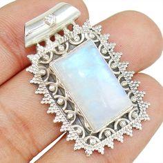 25c97590e1ee Top Grade Rainbow Moonstone 925 Sterling Silver Pendant Jewelry P-2484   Allisonsilverco Rainbow Moonstone