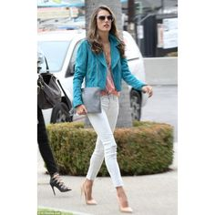 She's a dream in white jeans! Alessandra Ambrosio shows off her toned... ❤ liked on Polyvore