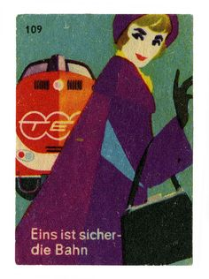 My Favorite Train TEE. Only First Class and Express Route. Trans Europe Express. Vintage german matchbox label