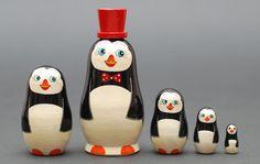 Hey, I found this really awesome Etsy listing at https://www.etsy.com/listing/161551355/penguins-nesting-dolls-matryoshka-set-of