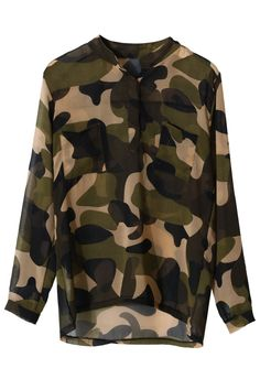 Camouflage Military Chiffon Top