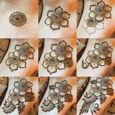 Latest Easy Henna Tattoo Designs Step by Step for Beginner Latest Eas. - - Latest Easy Henna Tattoo Designs Step by Step for Beginner Latest Eas. Cute Henna Designs, Henna Flower Designs, Henna Designs Feet, Simple Arabic Mehndi Designs, Mehndi Designs Book, Bridal Henna Designs, Mehndi Designs For Beginners, Flower Henna, Mehndi Designs For Fingers
