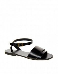 Format Leather Flat Sandals