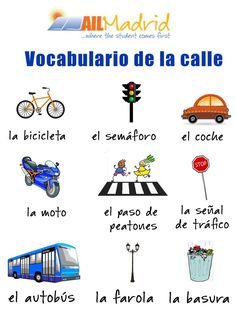 La calle vocabulario ✿ Spanish Learning/ Teaching Spanish / Spanish Language / Spanish vocabulary / Spoken Spanish ✿ Share it with people who are serious about learning Spanish!