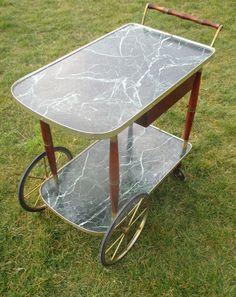 Vintage Bar Cart Danish Modern Marbled Like Wood Cocktail Cart Serving Trolley | eBay