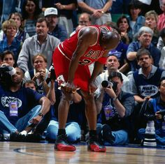SALT LAKE CITY, UT - JUNE 13: Michael Jordan #23 of the Chicago Bulls rests during Game Five of the 1997 NBA Finals played against the Utah Jazz on June 11, 1997 at the Delta Center in Salt Lake City, Utah. The Chicago Bulls defeated the Utah Jazz 90-88. NOTE TO USER: User expressly acknowledges and agrees that, by downloading and or using this photograph, User is consenting to the terms and conditions of the Getty Images License Agreement. Mandatory Copyright Notice: Copyright 1997 NBAE…