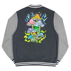 Magic mushrooms men's Letterman Jacket T Shirt Photo, Athleisure Outfits, White Jersey, Custom Tees, Me As A Girlfriend, Short Sleeve Tee, Mercury, Rib Knit, Stuffed Mushrooms