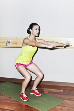 Keeping knees above toes, drive your butt back like you're going to sit in chair (bringing your butt down to knee level). Return to the starting position; repeat as many times as you can for 90 seconds.