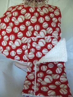 Red Baseball Bib and Burp Set -- Great Baby Shower Gift