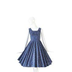 1950s Dress  50s Novelty Print  Blue  XS S by Vintagephilosophy