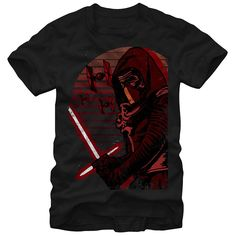 Harness the power of the dark side of the Force with the Star Wars Kylo Ren Destroy Black T-Shirt. Kylo Ren is  in a unique artistic style on the front of this durable black tee, with his famous lightsaber in his hands and TIE fighters zooming throug