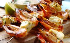 One of the favourite recipes for a festive fish braai: Cape Seafod Kebabs With Coriander And Cumin Sauce. A fabulous idea for a South African Christmas beach braai! Braai Recipes, Kebab Recipes, Seafood Recipes, My Favorite Food, Favorite Recipes, French Dishes, South African Recipes, Seafood Dinner, Caribbean Recipes