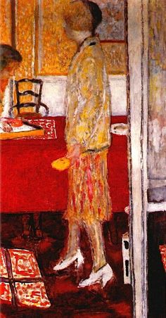 Pierre Bonnard -  Marthe in the dining room 1933. Color in his late painting transcends descriptive content; it moves well away from the local color of a Cézanne still life, for example. In the late masterpieces, color becomes the subject, the vehicle of light, and the means by which we enter the paintings with our eyes. Using hot and cold hues, Bonnard guides the eye, very deliberately, on an adventure through the positive and negative spaces of his complex canvases.