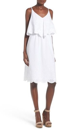 Wayf Cotton Eyelet Popover Dress