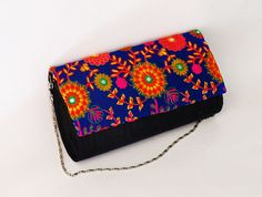 Buy Bright BLUE BLACK CLUTCH colorful embroidered by iThinkFashion