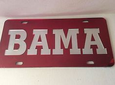 Polka Dot Alabama Crimson Tide Mirrored Car Tag License Plate