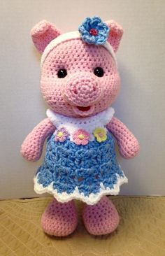 Crochet Little Bigfoot Piggy With Video--she needs some wings.