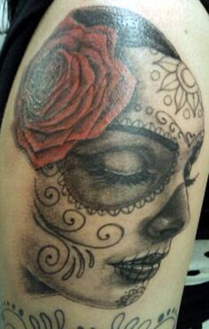 """There's something about """"Day of the Dead"""" style tattoos that I find so beautiful."""
