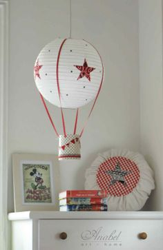 Lámpara, lamps, Lampshades, Abat-jours DIY como realizar una lámpara con una pantalla de papel de arroz. DIY hot air ballon lamp.