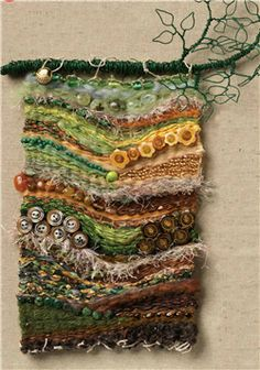"""An August Walk in the Woods"" Woven Wall Hanging ~ Grace Mahoney   Weaving with wire, buttons and beads."