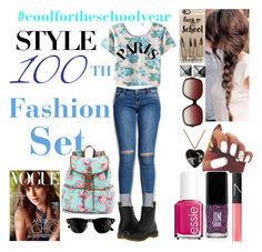 """100th Set: #CoolForTheSchoolYear"" by jmlatter ❤ liked on Polyvore featuring Wet Seal, Dr. Martens, Casetify, Waterford, Oliver Peoples, Moschino, NARS Cosmetics, JINsoon, Essie and Candie's"