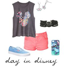 """""""day in disney"""" by emma-crowe on Polyvore #IceCarats http://www.icecarats.com/Sterling-Silver-15.25X10.15-Mm-Disney-Cinderella-Tiara-earrings-W-Box-424013.aspx"""