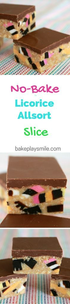 This is my mums favourite slice! It's so easy and no-bake! #licorice #allsort #slice