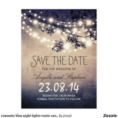 romantic blue night lights rustic save the date