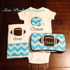 Personalized baby gift set - Football theme - Turquoise Chevron Onsie, burp cloth and travel diaper wipe case