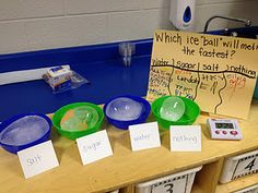 Which ice ball will melt the fastest? Introduce children to the concept of hypothesising (well, making predictions) and then testing them out in real life. Science Week, 1st Grade Science, Primary Science, Kindergarten Science, Physical Science, Science Classroom, Science Fair, Science Lessons, Teaching Science