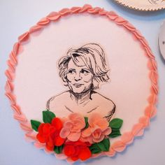 """day 47 (Girl You Crack Me Up Week!) """"The Domestic Goddess"""", Amy Sedaris Hand embroidery with felt applique details. Contemporary Embroidery, Modern Embroidery, Embroidery Art, Cross Stitch Embroidery, Amy Sedaris, Lucky Day, Craft Club, Felt Applique, Geek Girls"""