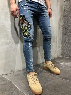 Men Slim Fit Embroidered Tiger Ripped Paint Zip Legs Jeans - Blue #mensjeansripped