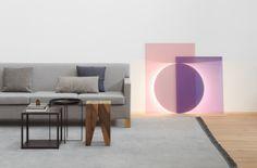 Modern floor light COLOUR by Daniel Rybakken and Andreas Engesvik. / www.e15.com #e15 #glass #colouredglass #pink #blue #modernlighting #interiordesign