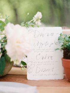 #calligraphy #organic #signage #wedding Dinner menu: http://www.stylemepretty.com/2015/04/06/elegant-garden-inspiration-shoot/ | Photography: Ryan Ray - http://ryanrayphoto.com/