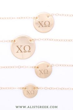 Available in 4 metal options and 5 disc sizes, this engraved Chi Omega disc charm necklace will make the cutest gift for any and every Chi O sister. Design your perfect greek letter necklace at www.alistgreek.com! #circle #disc #necklace #sororitynecklace #customgift #personalized #handmade #custom #sororityjewelry #greekletters #sororityletters #loveyourletters #bidday #biglittle #chio #xo #chiomega