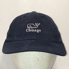 481105d6ac5b7 Chicago Vineyard Vines Hat Blue Baseball Cap Whale Logo Fishing Hats T29  AG8077  VineyardVines