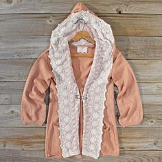 Ahhdorable lace detail and blush color! And it's a hoodie! NEED. Laced Moon Hoodie in Pink. Spool 72.