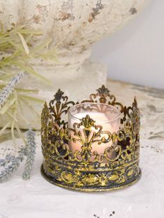 French Style Metal Gold Crown Candle Holder - Small -