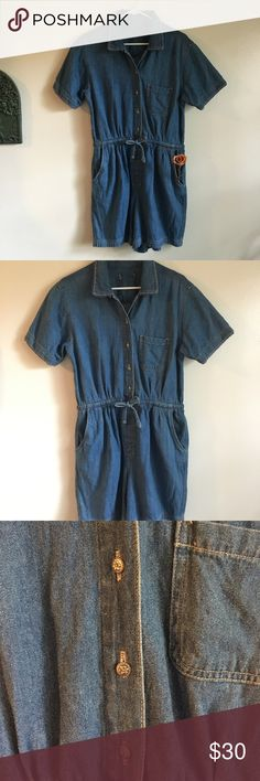 Adorable Vintage 90s Denim Pocket Button Romper 🌼 Like New. Description to come Vintage Other